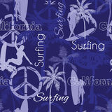 Vector Surfing California Blue Seamless Pattern Surface Design With Surfing Women, Palm Trees, Peace Signs, Surf Boards. Stock Photo