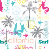 Vector Surfing California Colorful Seamless Pattern Surface Design With Women, Palm Trees, Peace Signs, Surf Boards. Royalty Free Stock Images