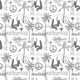 Vector Surfing California Gray Seamless Pattern Surface Design With Surfing Women, Palm Trees, Peace Signs, Surf Boards. Stock Image