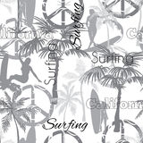 Vector Surfing California Grayscale Seamless Pattern Surface Design With Sporty Girls, Palm Trees, Peace Signs, Surf Stock Photography