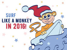 Vector Surfing Holidays New Year Monkey Greeting. Card graphic design. Happy 2016. Celebration. Surf board. Chimp stock illustration