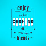 Vector surfing lesson poster with lettering design Stock Photography