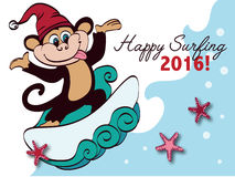 Vector Surfing New Year Monkey Holiday Greeting Royalty Free Stock Photography