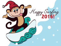 Vector Surfing New Year Monkey Holiday Greeting Stock Photography