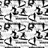 Vector Surfing People California Black And White Seamless Pattern Surface Design With Men, Women On Surf Boards. Royalty Free Stock Photos