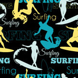 Vector Surfing People California Blue Yellow Black Seamless Pattern Surface Design With Men, Women On Surf Boards. Stock Images