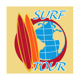Vector surfing travel with surf board and earth globe Stock Photos