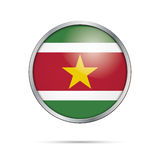 Vector Surinamese flag Button. Suriname flag in glass button sty Stock Photos