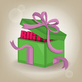 Vector surprise inside almost open gift box design template.vector illustration. Royalty Free Stock Photo