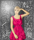 Vector Surprised Blonde in Pink Dress Against Love Background Royalty Free Stock Images