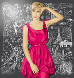 Vector Surprised Blonde in Pink Dress Against Love Background Stock Photos