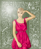Vector Surprised Blonde in Pink Dress Against Love Background Royalty Free Stock Image