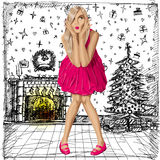 Vector Surprised Blonde in Pink Dress Stock Photos