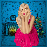 Vector Surprised Blonde in Pink Dress Royalty Free Stock Photo
