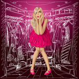 Vector Surprised Blonde in Pink Dress Royalty Free Stock Photography