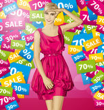 Vector Surprised Blonde in Pink Dress Royalty Free Stock Images
