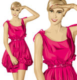 Vector Surprised Blonde in Pink Dress Stock Images