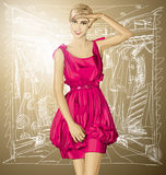 Vector Surprised Blonde in Pink Dress Stock Image
