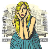 Vector Surprised Blonde in Pink Dress Royalty Free Stock Image