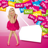 Vector Surprised Blonde in Pink Dress Stock Photo