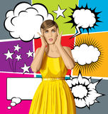 Vector Surprised Girl in Dress with Bubble Speech Royalty Free Stock Image