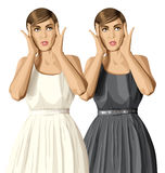 Vector Surprised Girl in Dress Royalty Free Stock Photography