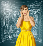Vector Surprised Girl in Dress Royalty Free Stock Image