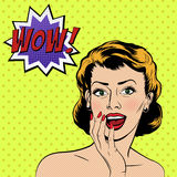 Vector surprised woman in the pop art comics style Stock Photos