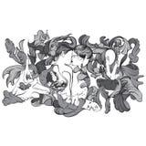 Vector surreal illustratie met het kussen van minnaars stock illustratie