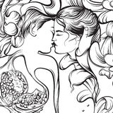 Vector surreal illustration with kissing lovers Stock Images