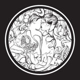 Vector surreal illustration with kissing lovers Stock Photography
