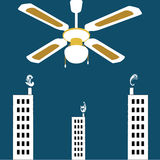 Vector surrealistic background,huge vintage ceiling fan over the city Royalty Free Stock Photo