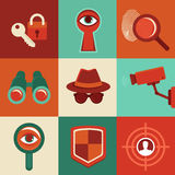 Vector surveillance concepts -icons in flat style stock illustration