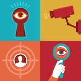 Vector surveillance concepts -icons in flat style Royalty Free Stock Photos