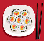 Vector sushi and chopsticks. Vector sushi on the plate and chopsticks Royalty Free Stock Image