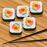 Vector sushi and chopsticks. On bamboo mat Royalty Free Stock Photography