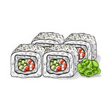 Vector sushi color sketch, Boston roll Royalty Free Stock Photography