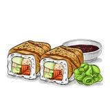 Vector sushi color sketch, Canada roll Royalty Free Stock Photos