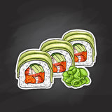 Vector sushi color sketch, Dragon roll Stock Image