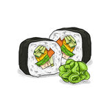 Vector sushi color sketch, Vegetable roll Stock Photo