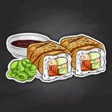 Vector sushi color sticker, Canada roll Royalty Free Stock Photos