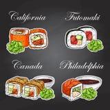 Vector sushi color sticker, set Stock Photos