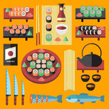 Vector sushi and Japanese food icons set. Royalty Free Stock Photo