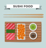 Vector sushi and rolls set isolated on white Stock Image