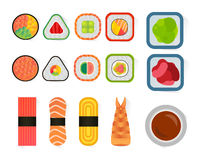 Vector sushi and rolls set isolated on white background Stock Photos