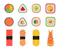 Vector sushi and rolls set isolated on white background Stock Images