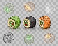 Vector sushi set on transparent background Stock Photography