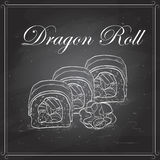 Vector sushi sketch, Dragon roll Stock Images