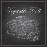 Vector sushi sketch, Vegetable roll Stock Images