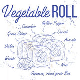 Vector sushi sketch, Vegetable roll Stock Photography